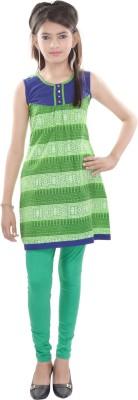 Cotton On Kids Printed Girls A-line Kurta(Green)