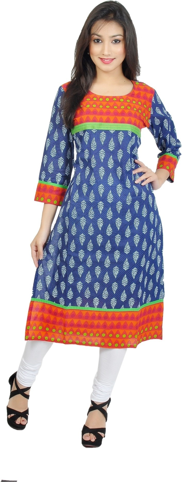 Sanchey Geometric Print Womens Straight Kurta(Blue, Red)