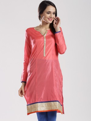 Anouk Solid Women's Straight Kurta(Pink) at flipkart