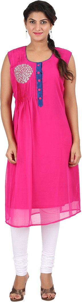 Venition Wardrobe Solid Womens Anarkali Kurta(Pink)
