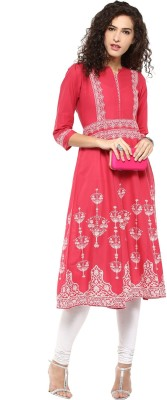 Bhama Couture Printed Women's Anarkali Kurta(Pink) at flipkart