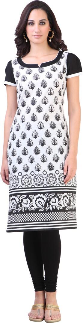 Libas Printed Womens Straight Kurta(White)