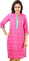 Sohniye Floral Print Women's Straight Kurta(Pink)