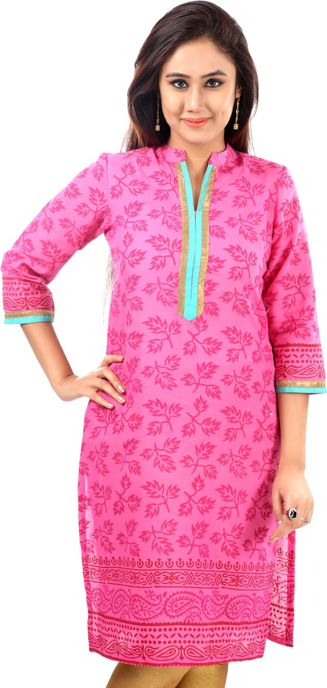 Sohniye Floral Print Womens Straight Kurta(Pink)