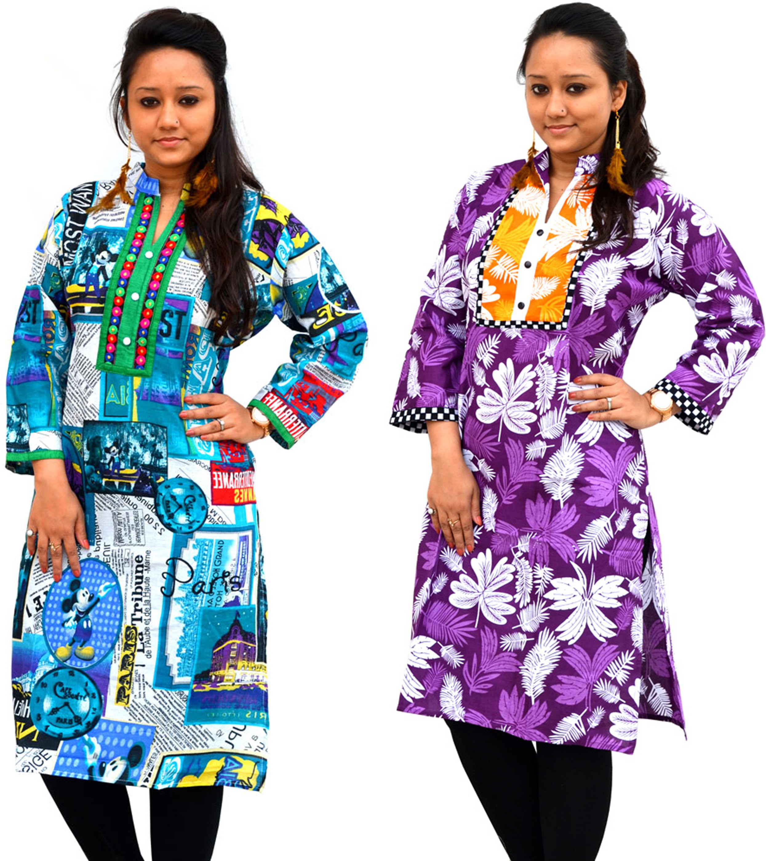 Aarti Collections Printed Womens Straight Kurta(Purple, Blue)