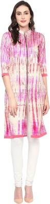 Libas Printed Women's A-line Kurta(Beige, Pink) at flipkart