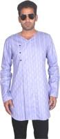 BonTon Checkered Mens Straight Kurta(Blue)