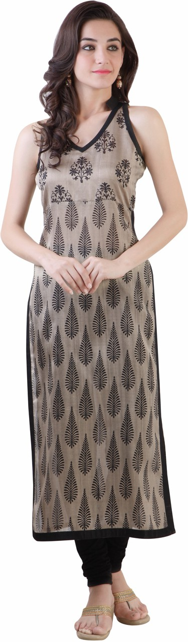 Libas Printed Womens Straight Kurta(Beige, Black)