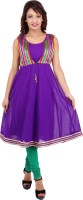 Urban Flairs Printed Women's A-line Kurta(Purple)