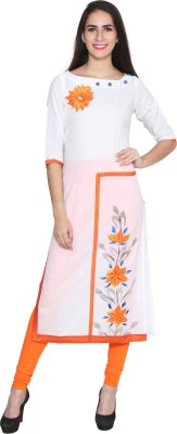 Kurtis By Menika Printed Women's Straight Kurta(White, Orange)