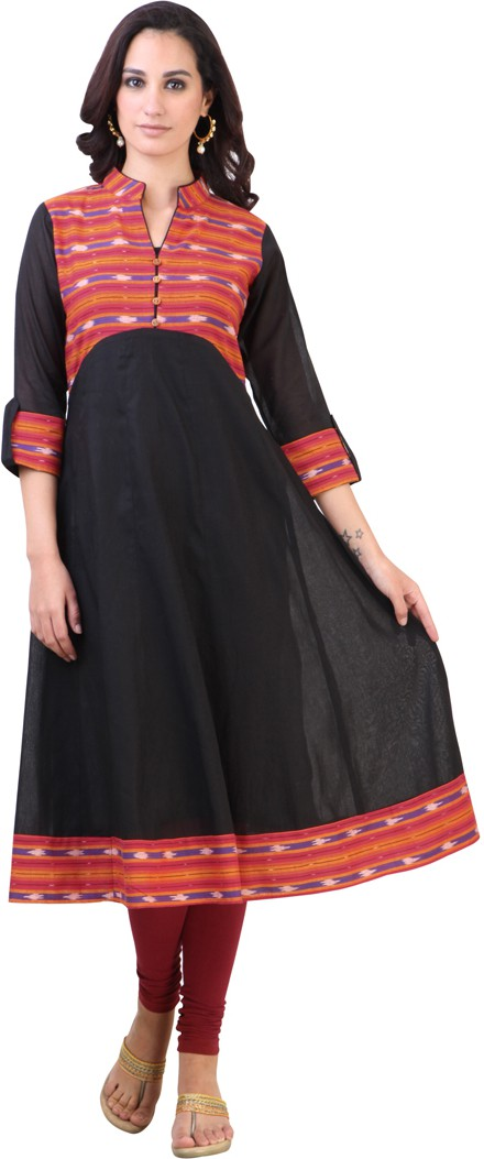 Libas Solid Womens Anarkali Kurta(Black)