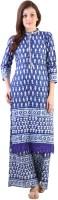 Libas Printed Women's Straight Kurta(Blue, White)