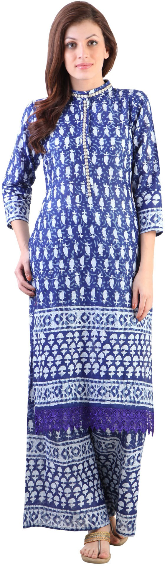 Libas Printed Womens Straight Kurta(Blue, White)