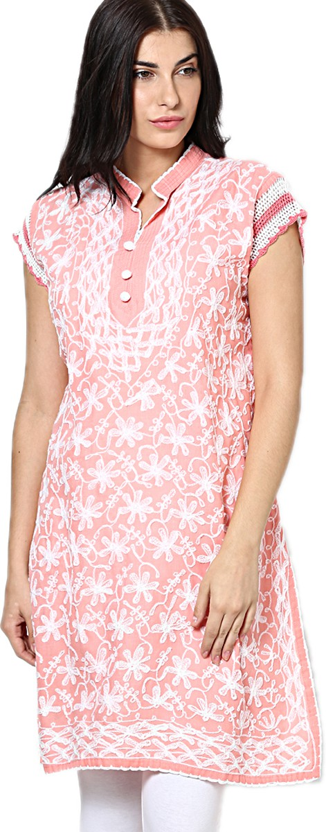 Castle Self Design Womens Straight Kurta(Pink)