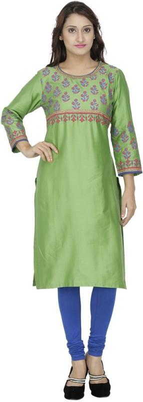 Tanvi Printed Women's Straight Kurta(Green)