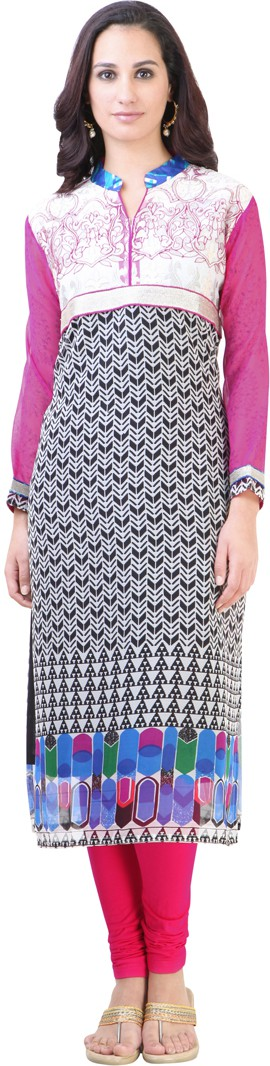 Libas Printed Womens Straight Kurta(White, Black)