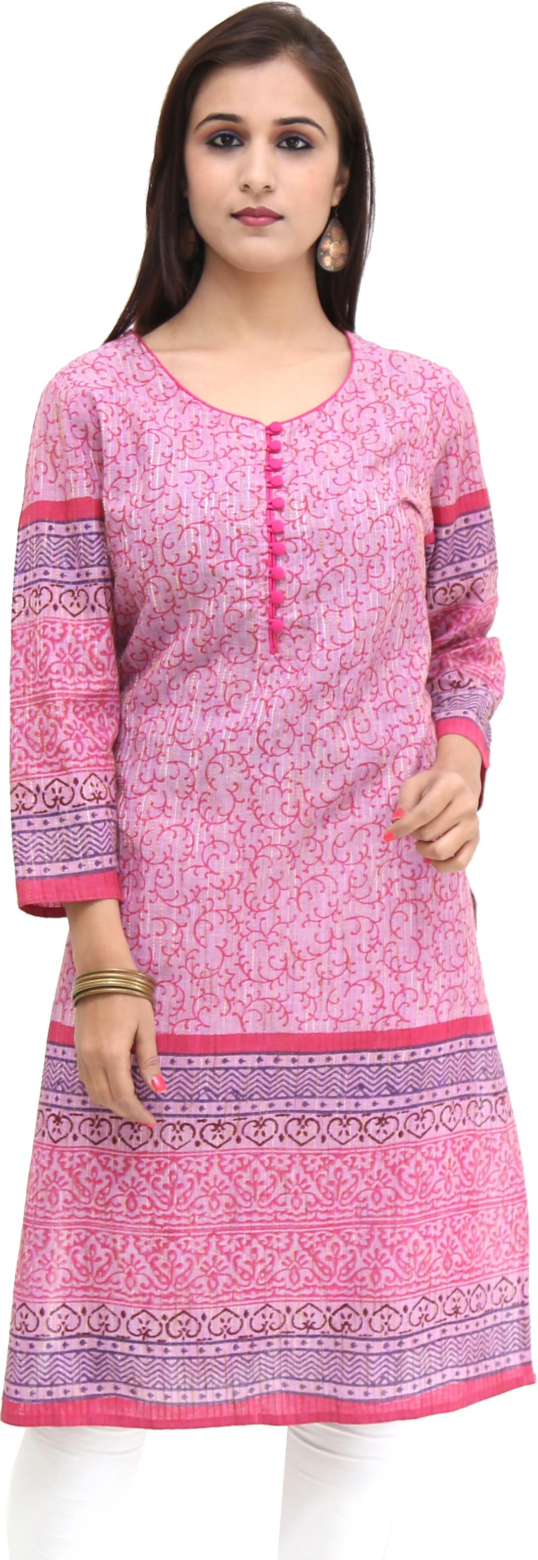 Missprint Printed Womens Straight Kurta(Pink, Pink)