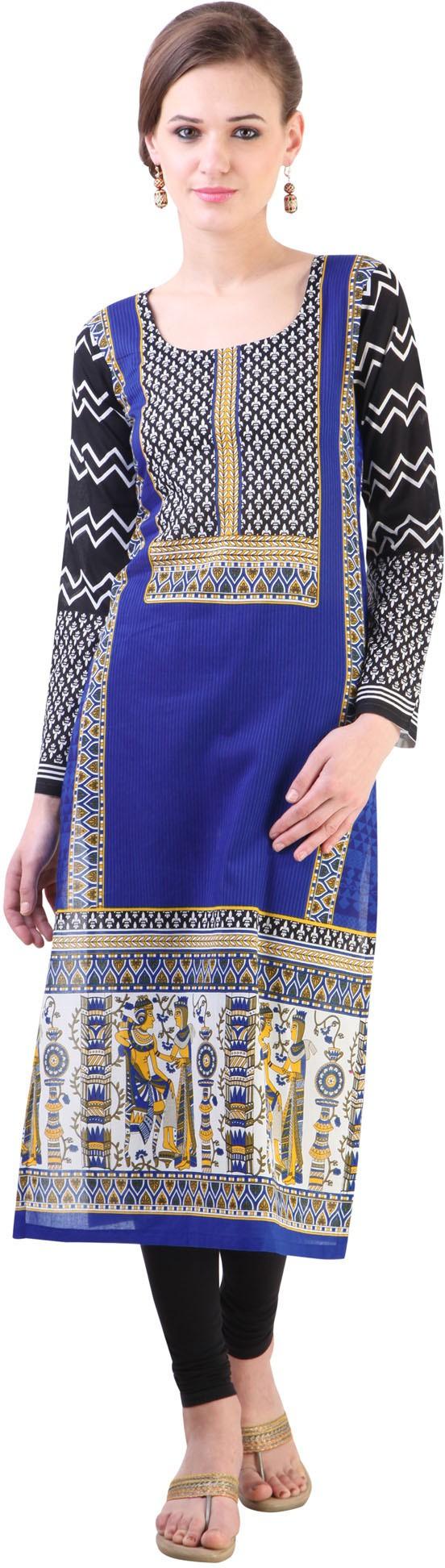 Libas Printed Womens Straight Kurta(Blue, Black)