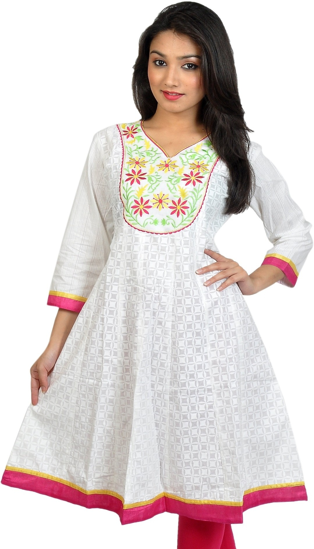 Sanchey Self Design Womens Anarkali Kurta(White)