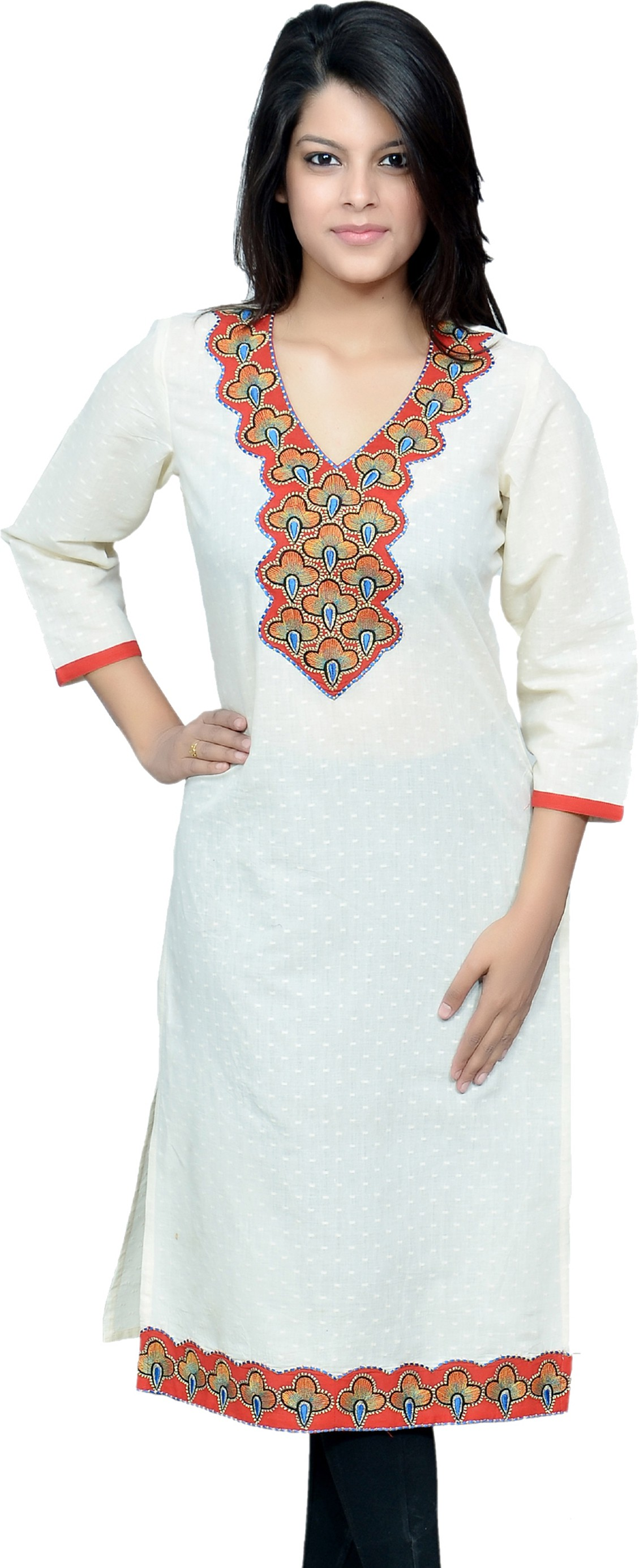 Chitrambara Solid Womens Straight Kurta(White)