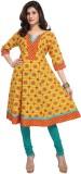 Enah Printed Women's Anarkali Kurta (Yel...