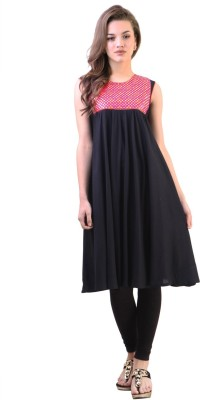 Libas Solid Women's Flared Kurta(Black) at flipkart