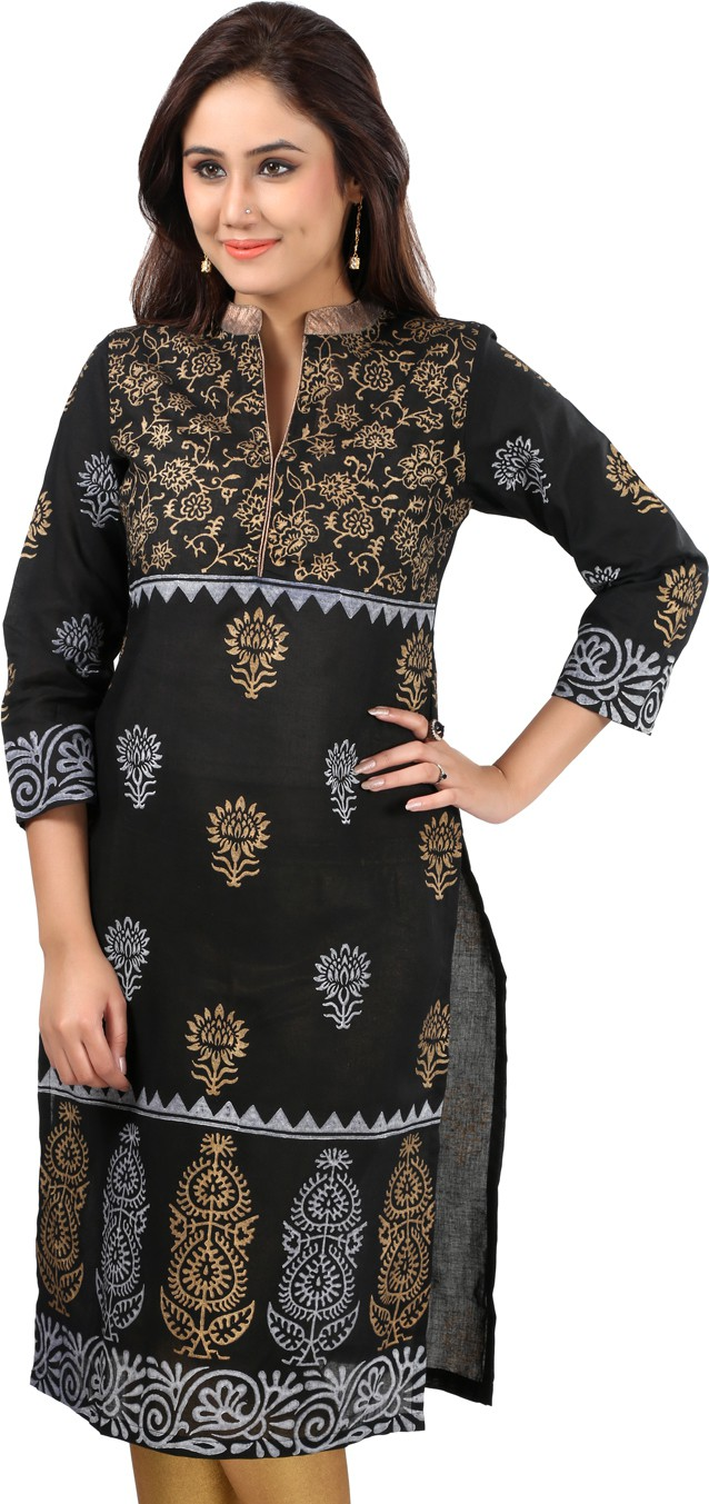 Sohniye Printed Womens Straight Kurta(Black)