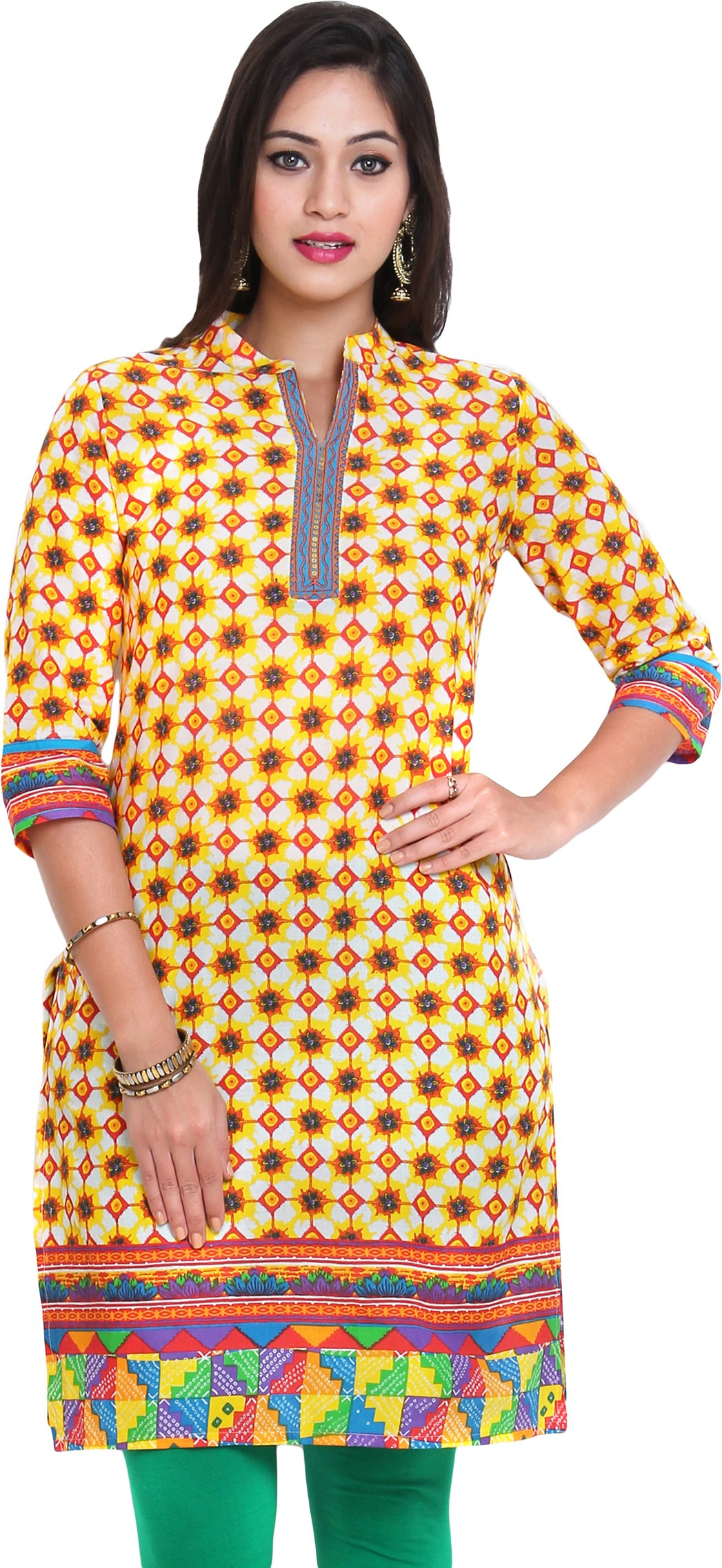 Aaboli Printed Womens Straight Kurta(Yellow)