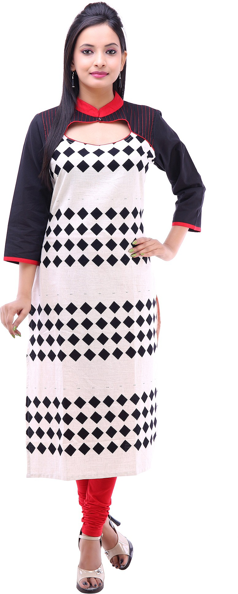 Kyaara Printed Womens Straight Kurta(White)
