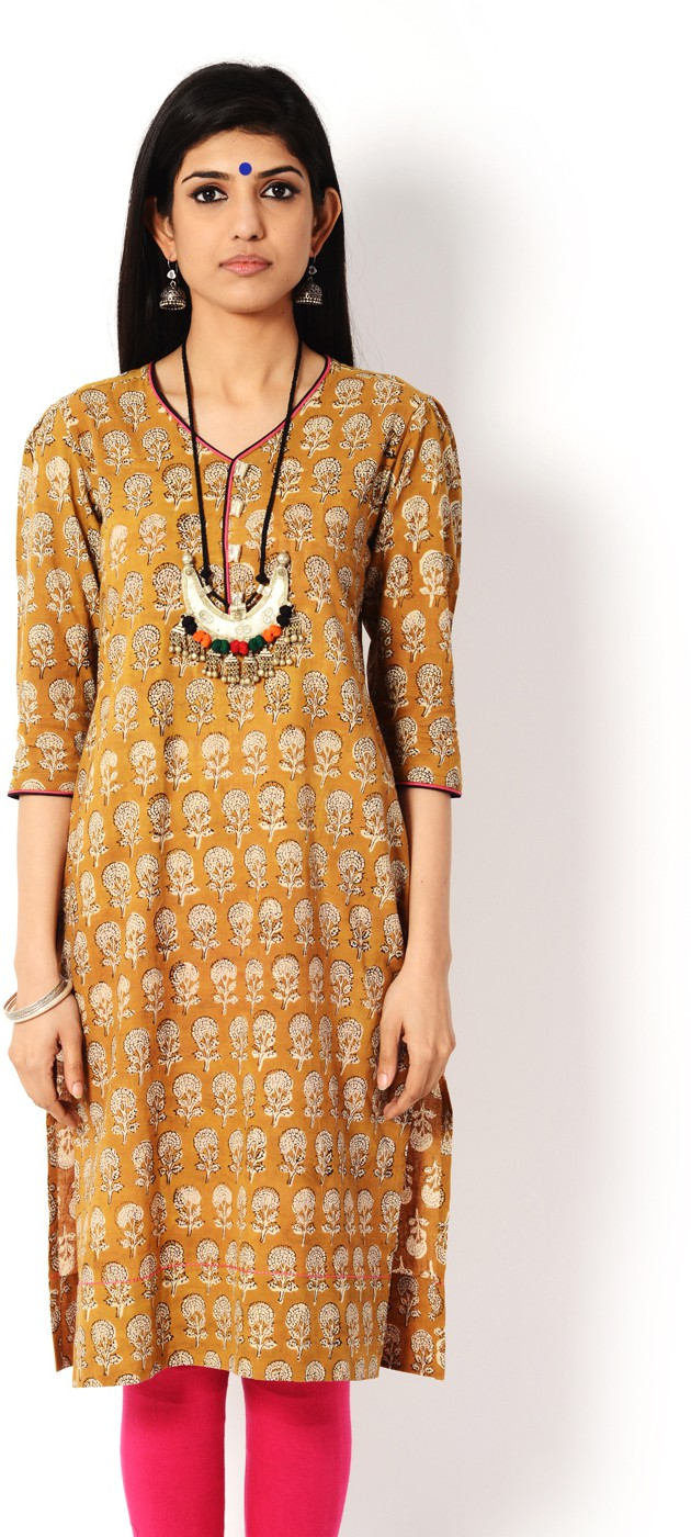 Aana Printed Womens A-line Kurta(Yellow)