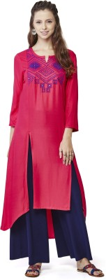 Global Desi Solid Women's Frontslit Kurta(Pink) at flipkart
