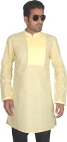 BonTon Solid Mens Straight Kurta(Yellow)