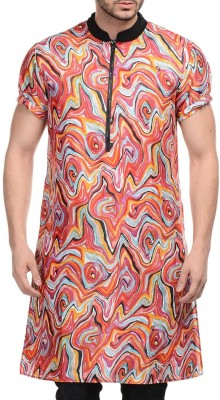 Lavennder Printed Men,s Straight Kurta