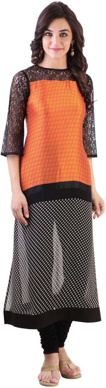 Libas Polka Print Womens Straight Kurta(Black, Orange)