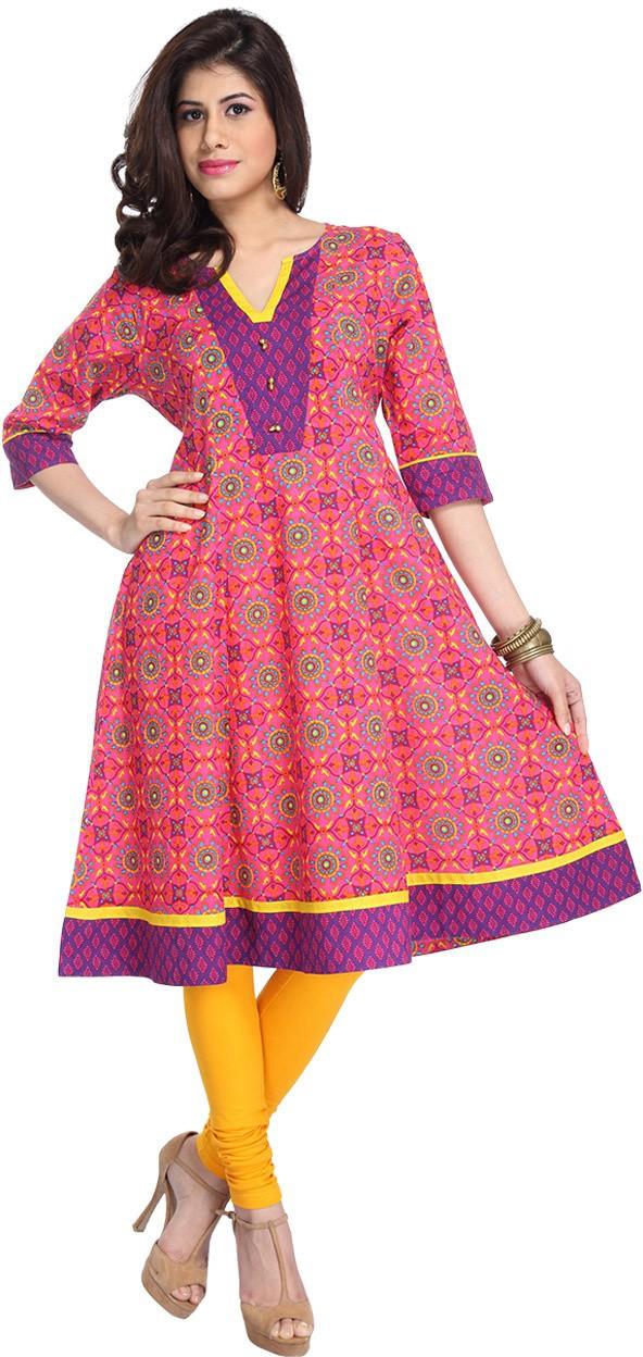 Enah Printed Womens Anarkali Kurta(Pink)