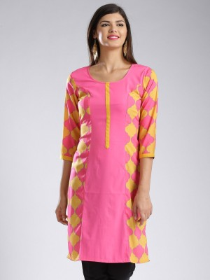 Anouk Printed Women's Straight Kurta(Pink) at flipkart