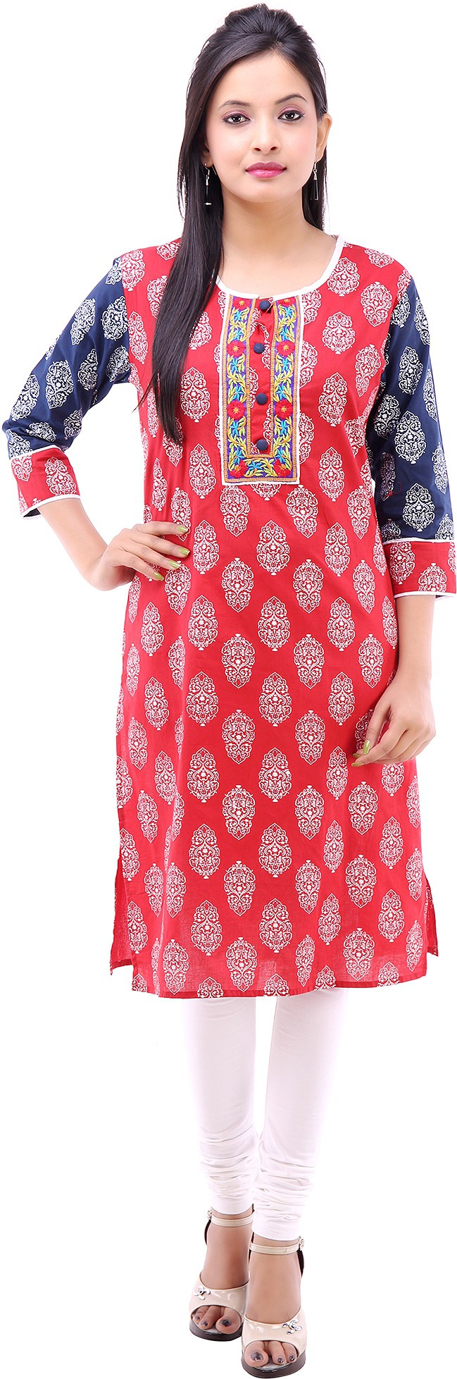 Kyaara Printed Womens Straight Kurta(Red)