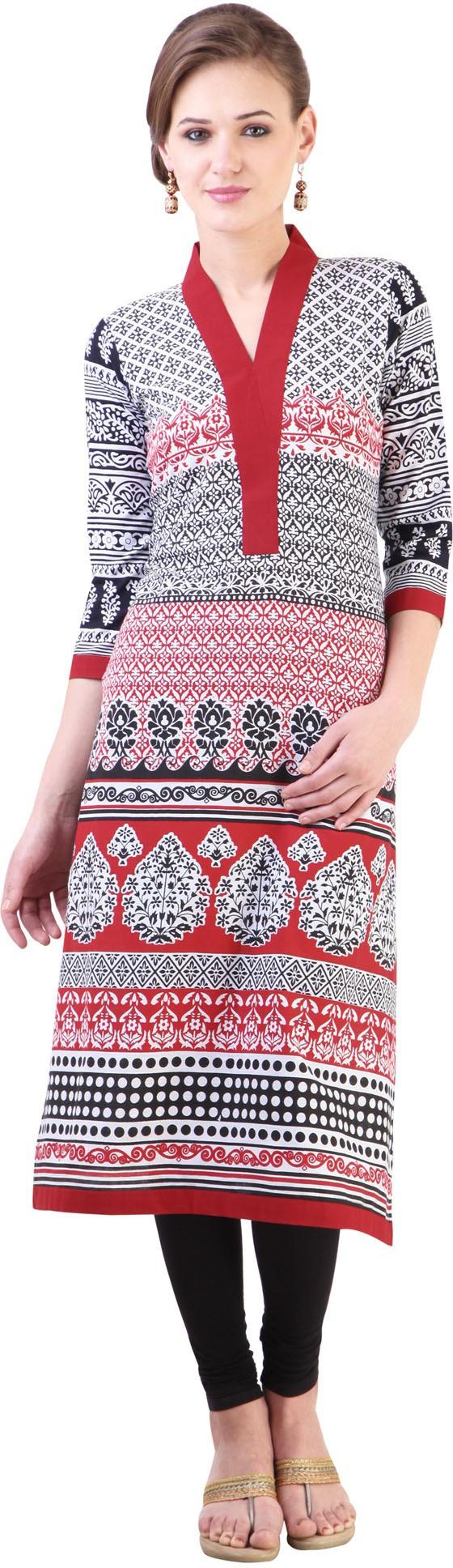 Libas Printed Womens Straight Kurta(White, Black)
