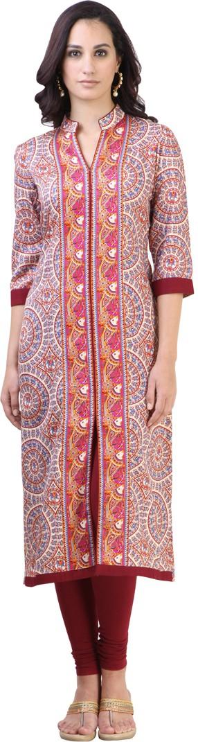 Libas Printed Womens Straight Kurta(Multicolor)