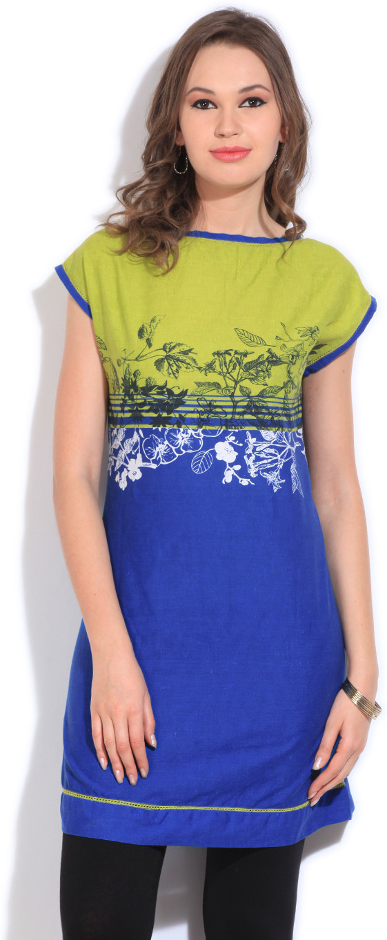 People Printed Womens Straight Kurta(Green, Blue)