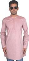 BonTon Solid Mens Straight Kurta(Pink)