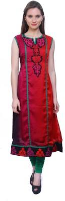 Kurtis By Menika Embroidered Women's Anarkali Kurta(Red, Green)