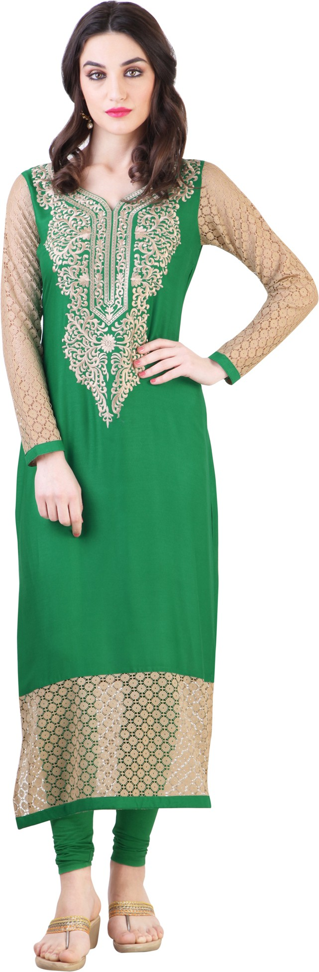 Libas Self Design, Solid Womens Straight Kurta(Green)
