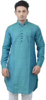 Manyavar Self Design Mens Straight Kurta(Green, Blue)