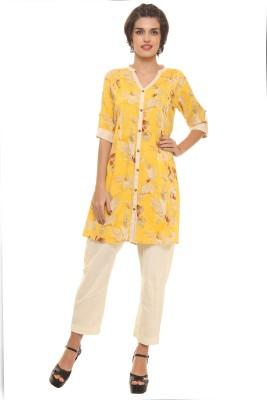Shree Floral Print Women's Straight Kurta(Yellow) at flipkart