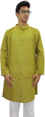 Rasi Silks Solid Mens Straight Kurta(Yellow)