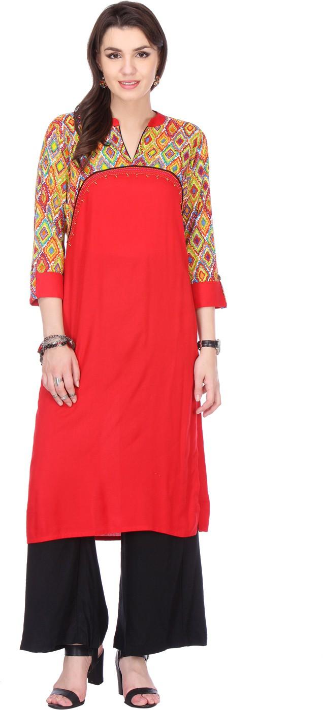 Varanga Printed Women's Straight Kurta(Red)
