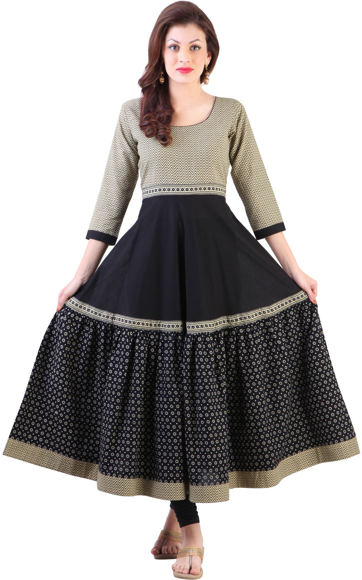 Libas Printed Womens Anarkali Kurta(Black)