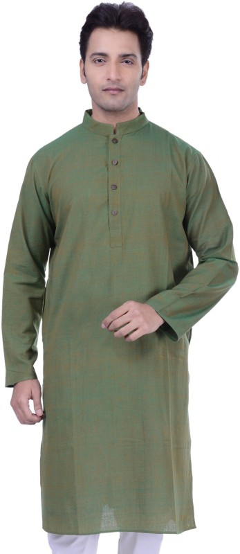Rene Solid Men's Straight Kurta(Green)