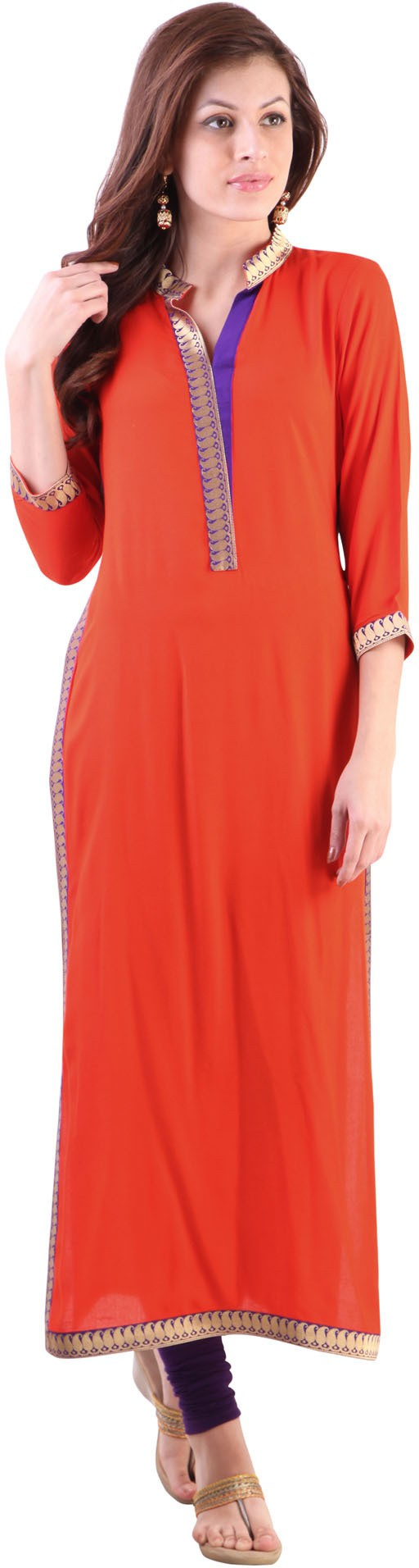 Libas Solid Womens Straight Kurta(Orange)